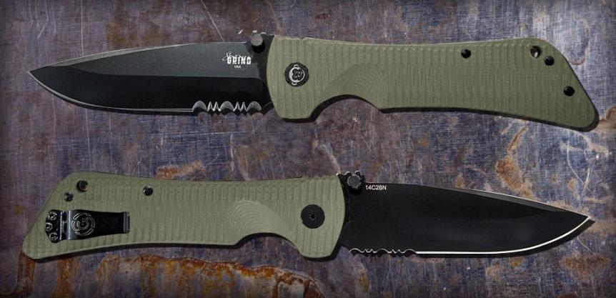 ZAC BROWN'S SOUTHERN GRIND BAD MONKEY DROP POINT BLACK SERRATED With OD GREEN HANDLE