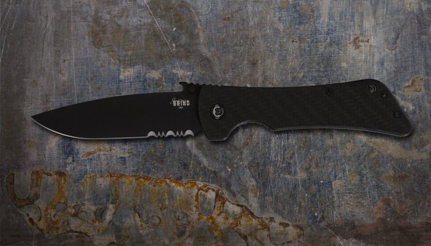 ZAC BROWN'S SOUTHERN GRIND BAD MONKEY EMERSON DROP POINT BLACK SERRATED with CARBON FIBER HANDLE
