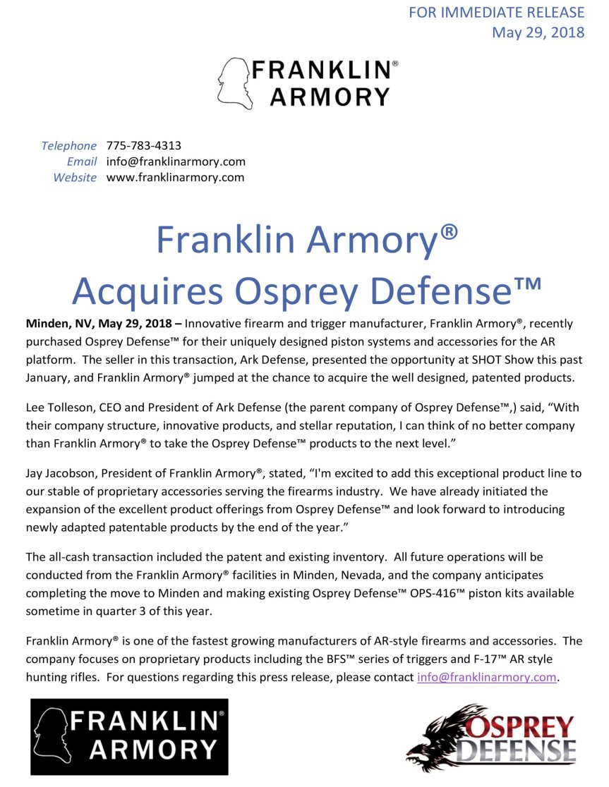 franklin armory aquires Osprey defense ark defense.jpg