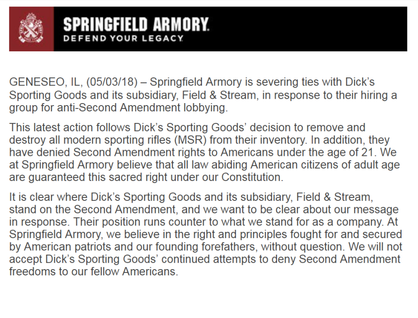 springfield armory cuts ties with dicks sporting goods