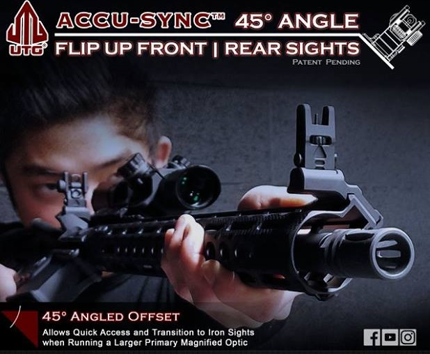 leapers utg ACCU-SYNC™ 45° ANGLE FLIP UP IRON SIGHTS MT-745 MT-945 12