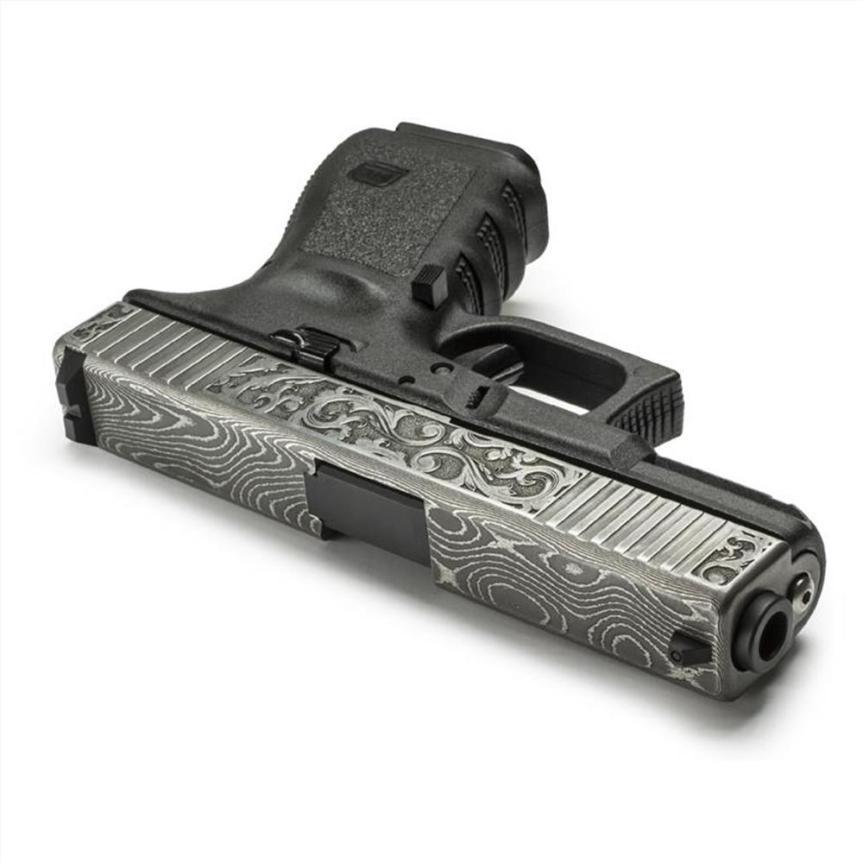 lone wolf distributors damascus slide LWD-G19-Damascus-Eng demascus glock 19 slide custom glock slide scrollwork 1
