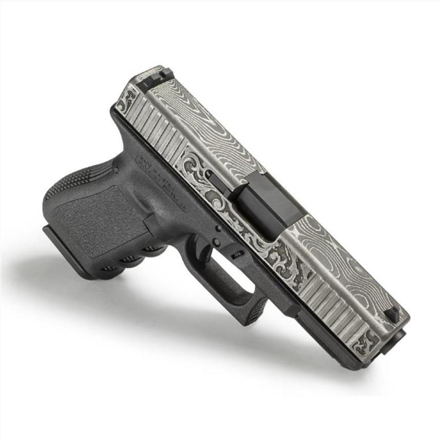 lone wolf distributors damascus slide LWD-G19-Damascus-Eng demascus glock 19 slide custom glock slide scrollwork 4
