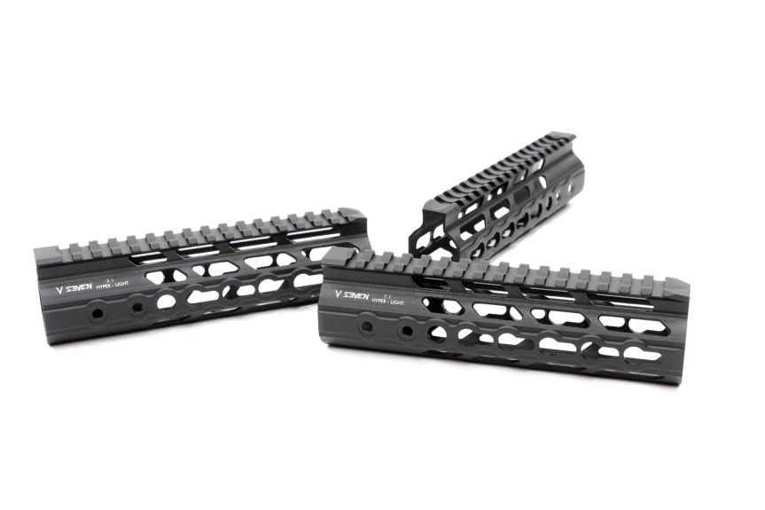 v-seven weapon systems mangesium handguards. HYPLIGHT 7KM 7inch handguard lightest handguard 1