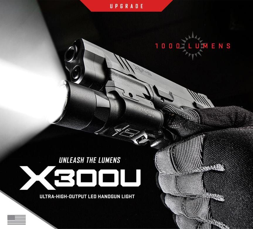 surefire x300u 1000lumen tactical light pistol light tactical pistol light black rifle light 084871319065 8