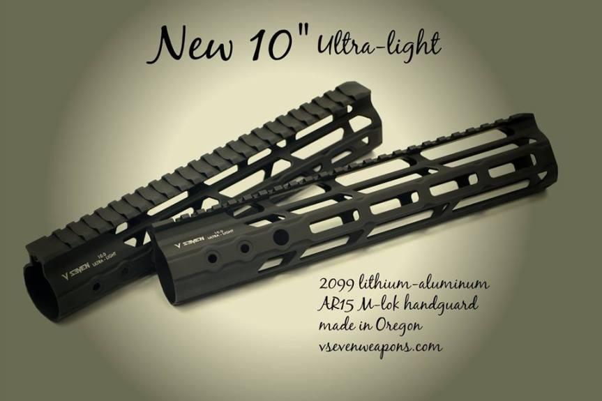 v seven weapon systems mlok handguard 10 inch ar15 rail lithium aluminum 2099 ar15 light weight rail ULIGHT 10ML 1