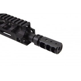 fortis manufacturing 9mm muzzle brake with sleeve sheild muzzle device red muzzle device rapid engagement device 556 223 9mm muzzlbrake no recoil. attackcopter 4