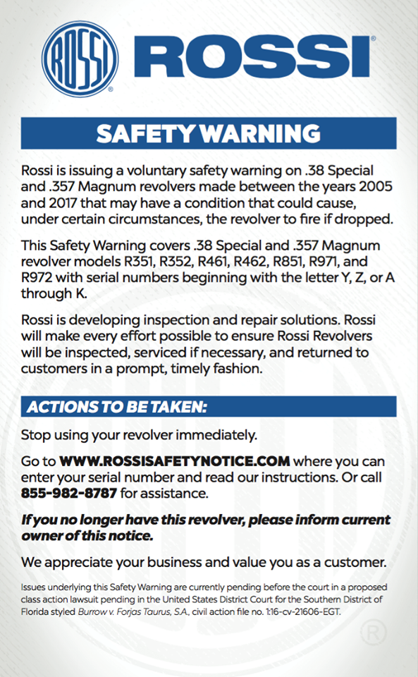 rossi safety notice gun recall drop and fire revolver attackcopter attack helicopter gun blog firearm blog tactical news ar15 news blog 2.png