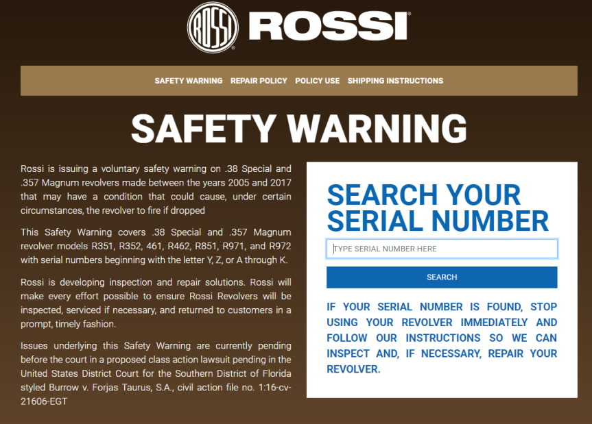 rossi safety notice gun recall drop and fire revolver attackcopter attack helicopter gun blog firearm blog tactical news ar15 news blog.png