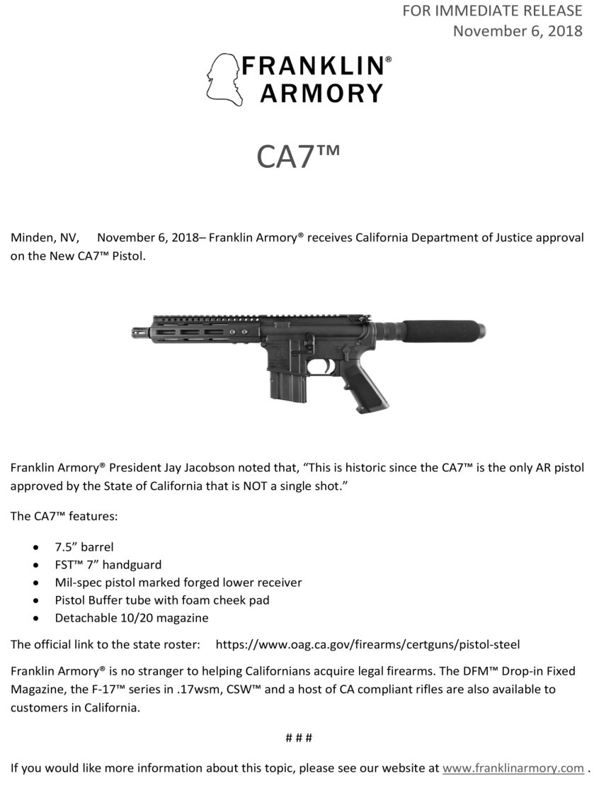 FRANKLIN ARMORY GETS APPROVAL FOR THE CA7 TO BE THE ONLY CALIFORNIA LEGAL AR PISTOL THAT IS NOT A SINGLE SHOT 1.jpg