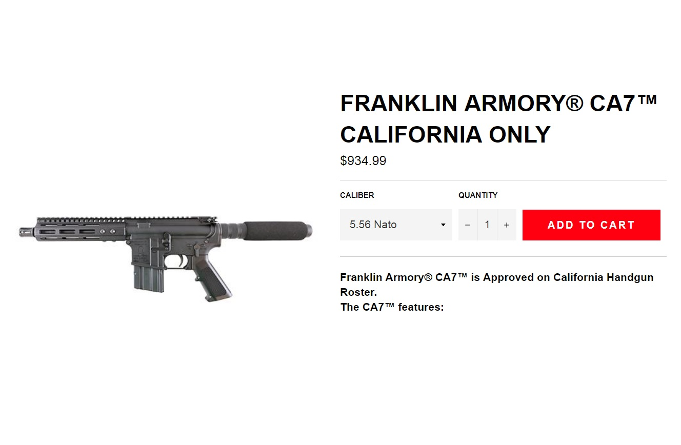 FRANKLIN ARMORY GETS APPROVAL FOR THE CA7 TO BE THE ONLY CALIFORNIA LEGAL AR PISTOL THAT IS NOT A SINGLE SHOT!