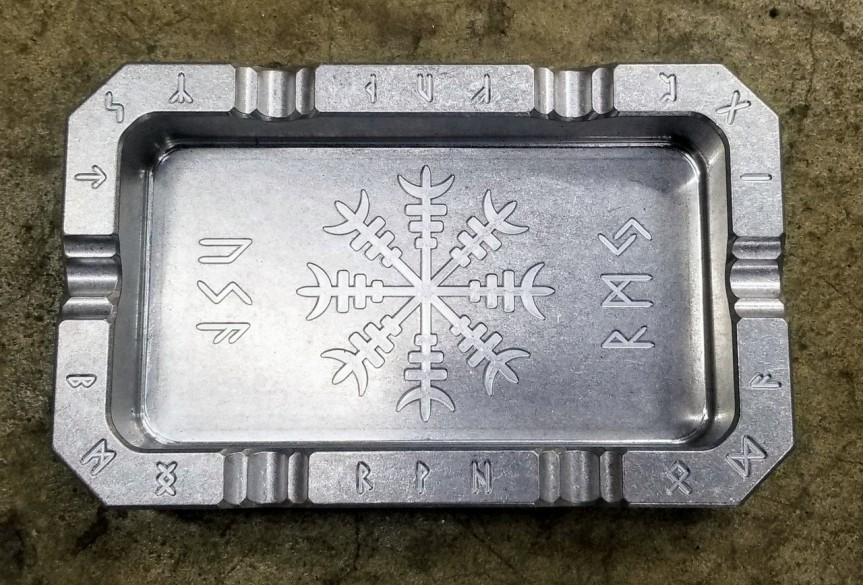 rmj tactical vahalla billet aluminum ashtray for the man cave. 1