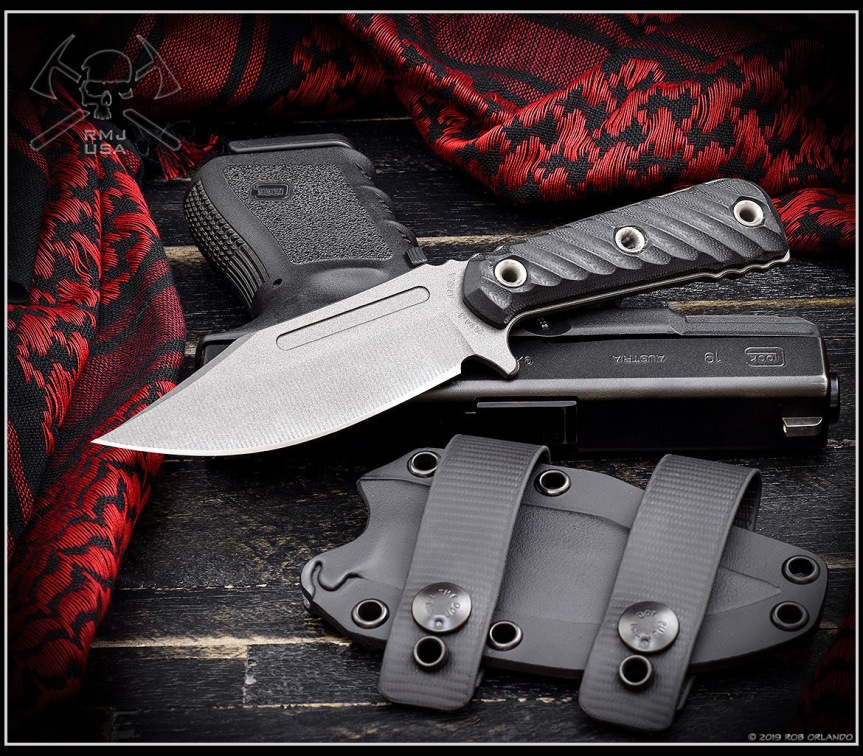 rmj tactical ucap fixed blade k nife 52100 carbon steel blade bushcraft edc blade  1.jpg