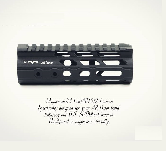 v seven weapon systems hyper-light ar15 handguard 6.5 300 black out shorty 1