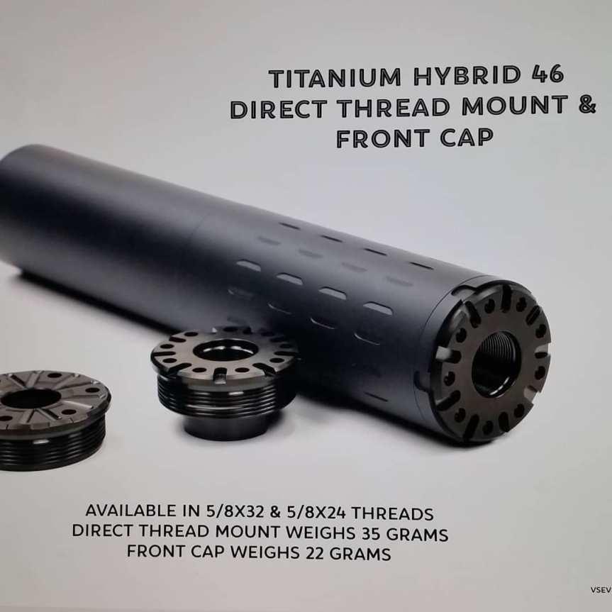 v seven weapon systems titanium suppressor mount silencerco hybrid 46 titanium silencer light weight hunting suppressor H46DTM-24 H46DTM-32 H46FCAP q