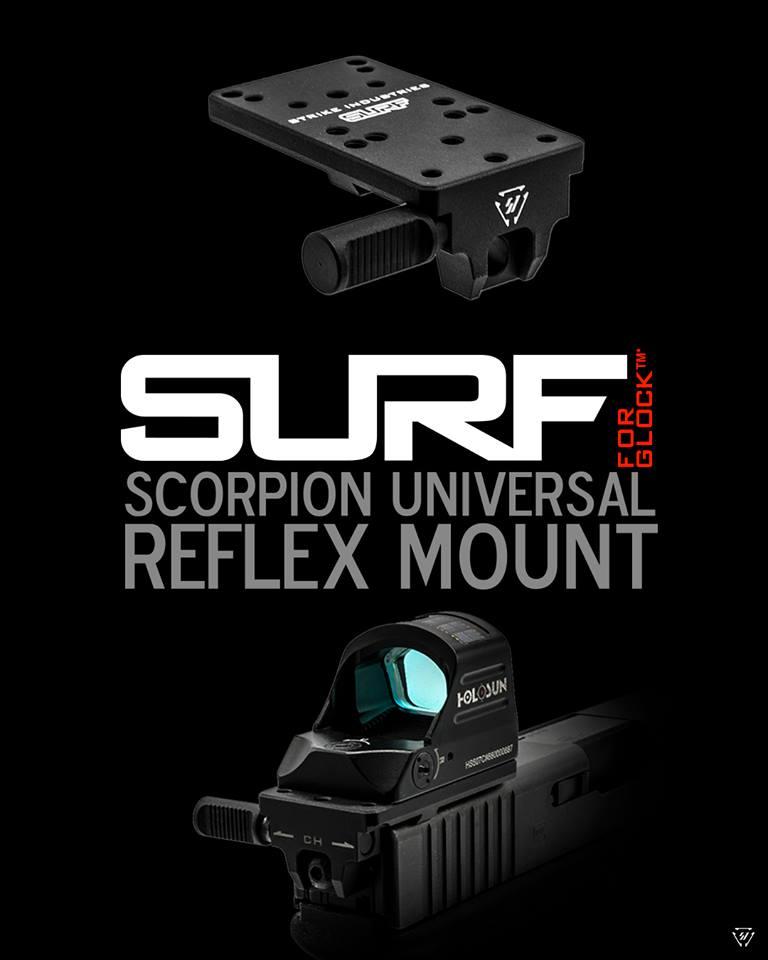 strike industries g-surf scorpion universal reflix mount for glock optics rmr mount 1