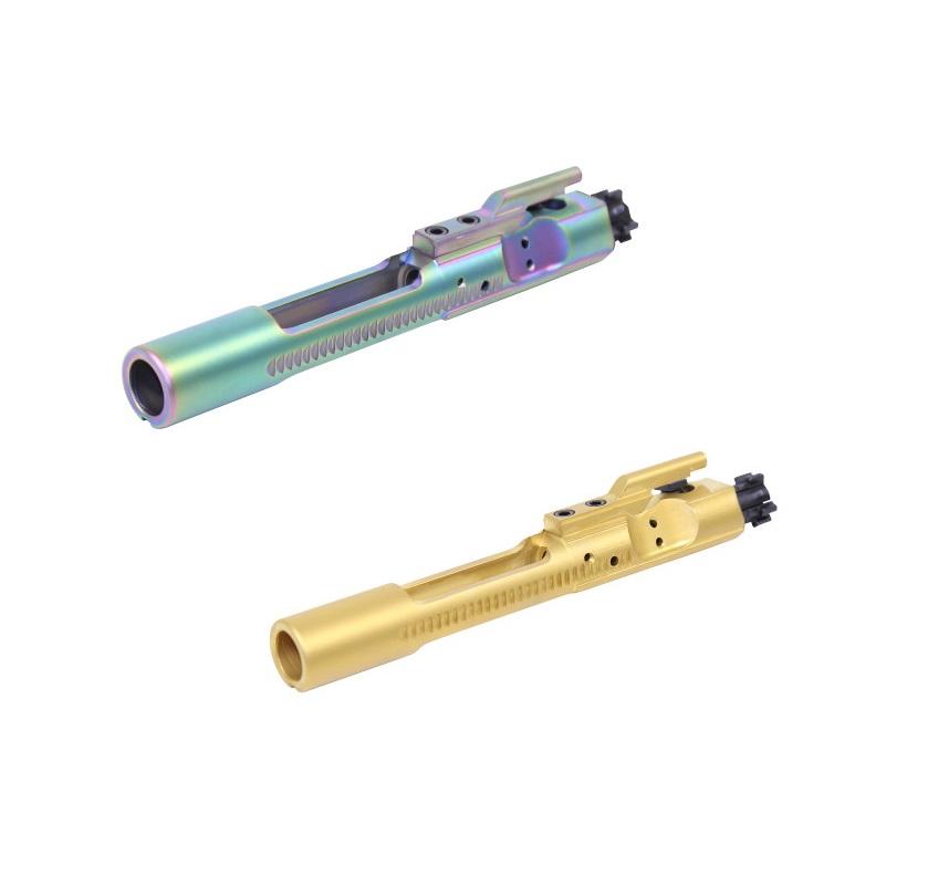 guntec usa ar15 pvd rainbow bolt carrier groups that are tin coated gold ar15 bcg  2a.jpg