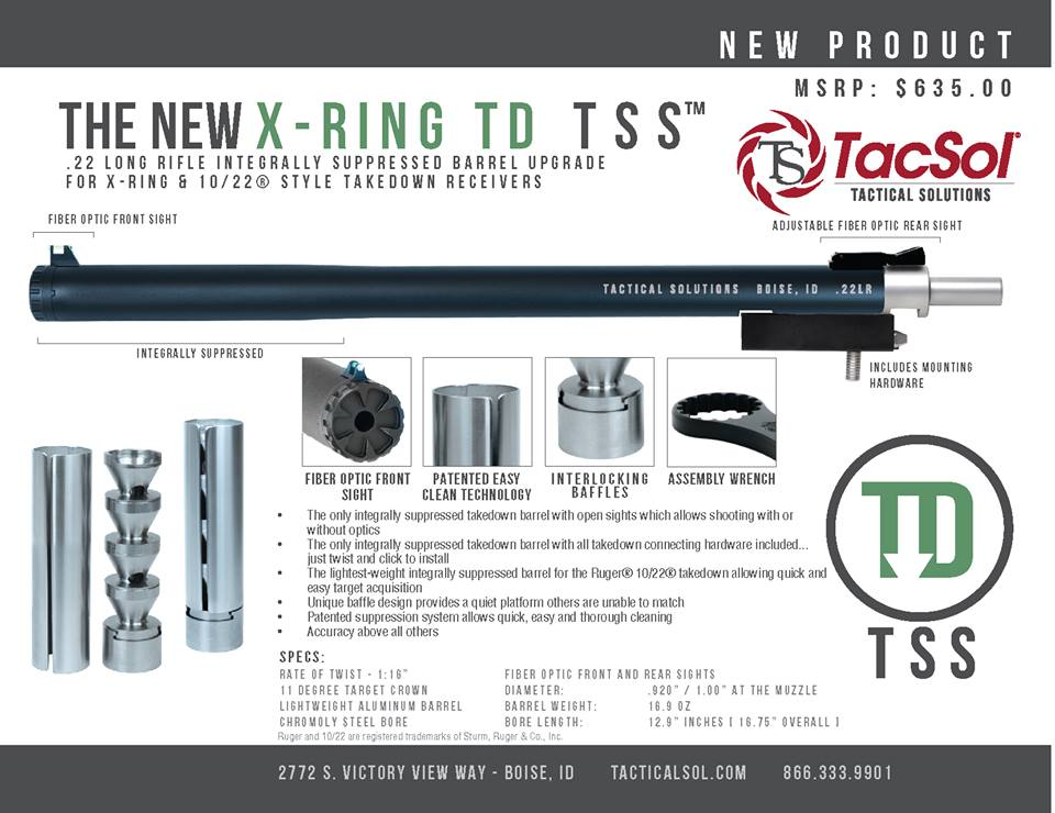 TACTICAL SOLUTIONS SHOWS OFF NEW X-RING TAKEDOWN TSS INTEGRALLY SUPPRESSED BARREL